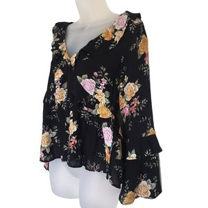AE Rose Floral Bell Sleeve Ruffle Boho Top Small